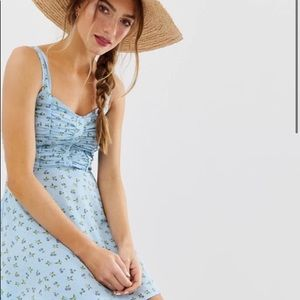 Ruched bust button through mini sundress in floral